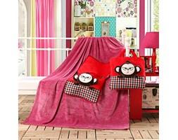 Koc dziecięcy – Cuties – Małpki - Czerwony - 110x160 cm