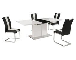 Zestaw stół + 4 krzesła TRINITY - Biało-czarny