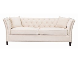 Dekoria Sofa Chesterfield Modern Velvet Cream 3-os., 225 × 87 × 82 cm