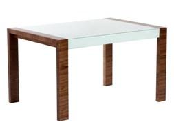 Stół Milan rozkładany 130/170 outlet białe szkło, podstawa orzech