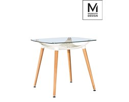 MODESTO stół HIDE SQUARE biały - blat szklany, podstawa drewniana