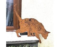 Prezent dla miłośnika kotów Rdzawa Tola kot figurka do ogrodu