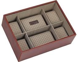 Pudełko na zegarki bez pokrywy Stackers 6 komorowe karmelowe kratka