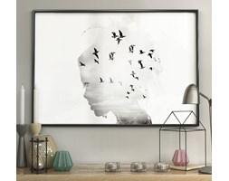 DecoKing - Plakat ścienny – Girl Silhouette - Birds