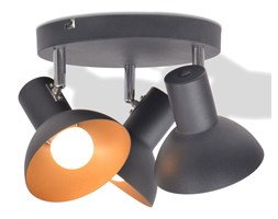 vidaXL Lampa sufitowa na 3 żarówki E27, czarno-złota