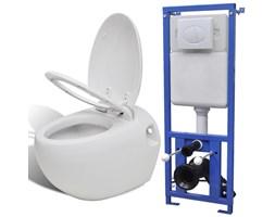 vidaXL Podwieszana toaleta owalna, ze zbiornikiem, biała