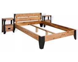 vidaXL Rama łóżka i 2 szafki nocne, drewno akacjowe, stal, 140x200 cm