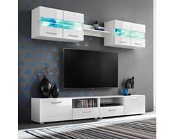 vidaXL Meblościanka pod TV z oświetleniem LED, 5 el., połysk, biała