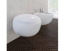 vidaXL Toaleta podwieszana i bidet, biała ceramika, zestaw