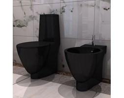 vidaXL Czarna ceramiczna muszla klozetowa oraz bidet