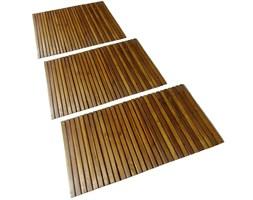 vidaXL Mata prysznicowa z drewna akacjowego, 3 sztuki, 80 x 50 cm