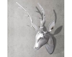 vidaXL Srebrna ozdoba ściany poroże z aluminium 62 cm