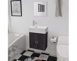 vidaXL Trzyelementowy zestaw do łazienki z umywalką, czarny