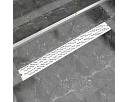 vidaXL Kratka odpływowa, liniowa, 1030x140 mm, wzór fali, stal nierdzewna