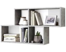 FMD Półka wisząca z 4 przegrodami, betonowa szarość i biel, 270-001
