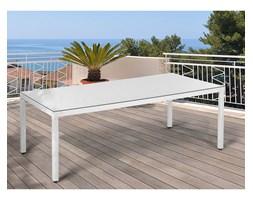 Beliani Stół ogrodowy biały - 220 cm - meble ogrodowe - rattan - szkło - ITALY