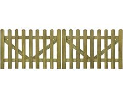 vidaXL Brama do płotu, 2 elementy, 300x100 cm, impregnowane drewno FSC
