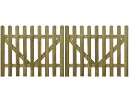 vidaXL Brama do płotu, 2 elementy, 300x120 cm, impregnowane drewno FSC
