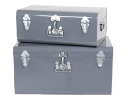 Komplet ozdobnych walizek Grey, Rozmiar: 57 x 38 x 29 cm Kolor: ciemnoszary Materiał: metal