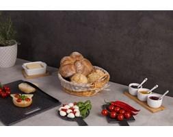 Pojemnik na chleb z wikliny, koszyk pleciony wyłożony płótnem