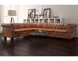 vidaXL Sofa rogowa Chesterfield sześcioosobowa brązowa, sztuczna skóra