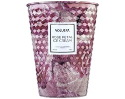 Voluspa 2 Wick Tin Table Giant Candle naturalna świeca zapachowa z dwoma knotami - Rose Petal Ice Cream