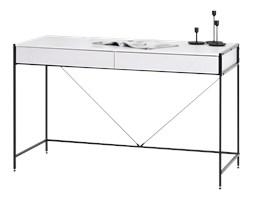 Biurko Unif biało - czarne z szufladami na subtelnej podstawie