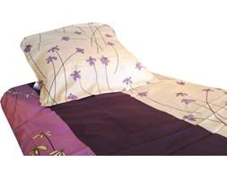 POŚCIEL satyna bawełniana, fioletowe stokrotki 200x220cm