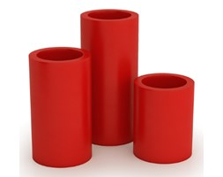 Donica wysoka okrągła Hebe 70 cm, z podwójnym dnem, czerwona