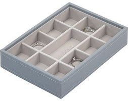 Pudełko na biżuterię 11 komorowe Mini Stackers szaroniebieskie