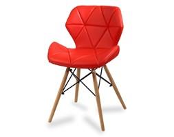 Krzesło na drewnianych bukowych nogach tapicerowane nowoczesne stylowe ekoskóra do salonu biura 024 AB czerwone