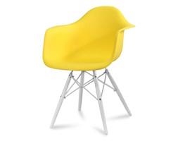 Krzesło nowoczesne stylowe na białych drewnianych nogach do salonu restauracji żółte 211 TA