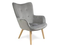 Fotel uszak z weluru na drewnianych nogach pikowany do salonu szary F200G