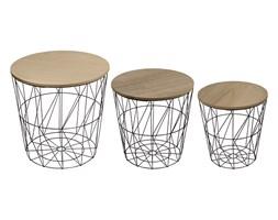 Stoliki kawowe zestaw stolików komplet z drewnianym blatem 3 szt. czarne UC60726