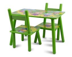 Zestaw dziecięcy stół + krzesła z drewna meble dziecięce zielony UC121432