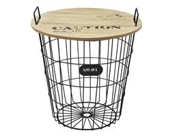 Okrągły stolik kawowy z koszem druciany mały z drutu drewniany blat SK102B-38