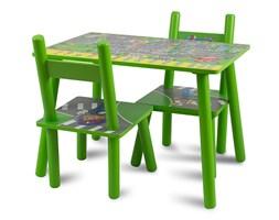 Zestaw dziecięcy stół + krzesła z drewna meble dziecięce zielony UC121439