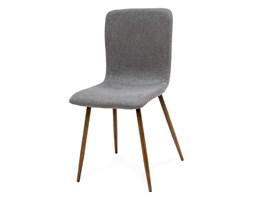 4f44956281279a Krzesło klasyczne tapicerowane na drewnianych nogach wenge miękkie stylowe  szare 013