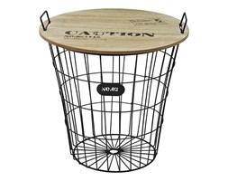 Okrągły stolik kawowy z koszem druciany duży z drutu drewniany blat SK102B-45