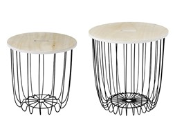 Komplet stolików kawowych druciany stolik kosz kawowy drewniany blat SK105B