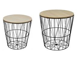 Komplet stolików kawowych druciany stolik kosz kawowy drewniany blat SK104B
