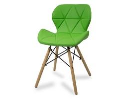 744a8ec7cf27d7 Krzesło na drewnianych bukowych nogach tapicerowane nowoczesne stylowe  ekoskóra do salonu biura 024 AB zielone