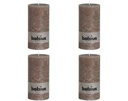 Bolsius Rustykalne świece pieńkowe, 200x100 mm, kolor taupe, 4 szt.