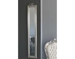 Rustykalne, prostokątne lustro, drewniana rama, kolor srebrny.