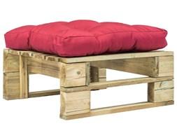 vidaXL Ogrodowy stołek z palet z czerwoną poduszką, drewno FSC