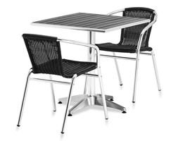 Zestaw mebli zewnętrznych: stół kwadratowy + 2 krzesła, czarny