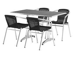 Zestaw mebli zewnętrznych: stół prostokątny + 4 krzesła, czarny