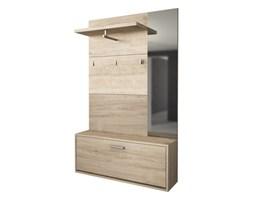 Wiszący wieszak na ubrania CALEB – 1-drzwiowa szafka i 1 lustro – kolor: dąb