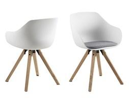 Plastikowe krzesło do jadalni Tina drewniane nogi poduszka jasnoszara