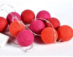 Lampki dekoracyjne kule - Cotton Balls - 10 kul - różowo-czerwone
